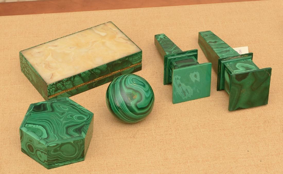 Malachite collection: boxes, obelisks, elephant - 5