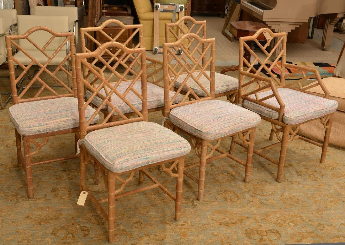 Set (6) Italian faux bamboo dining chairs