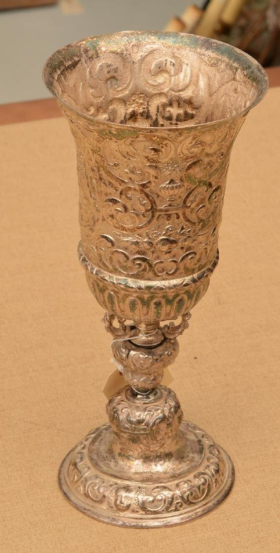 Continental Baroque style silver plated stem cup