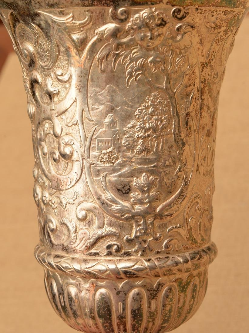 Continental Baroque style silver plated stem cup - 5