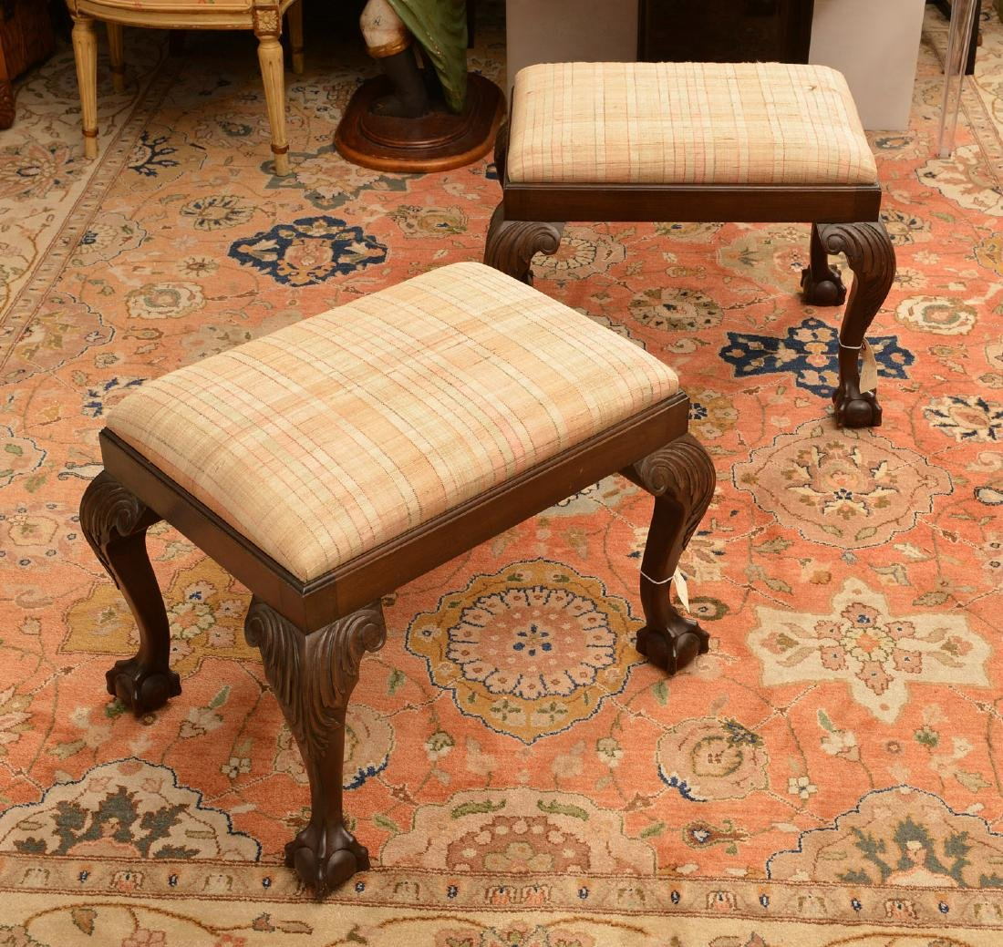 Pair Wallace Nutting Chippendale style stools