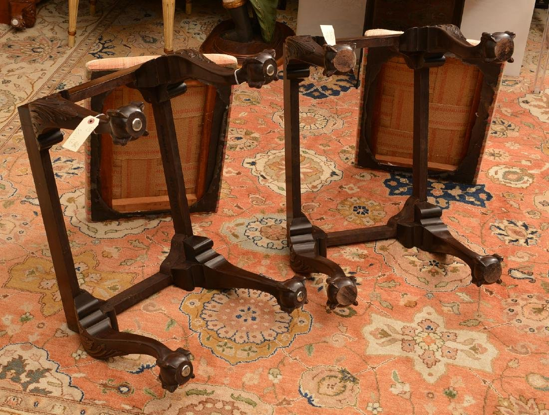 Pair Wallace Nutting Chippendale style stools - 4