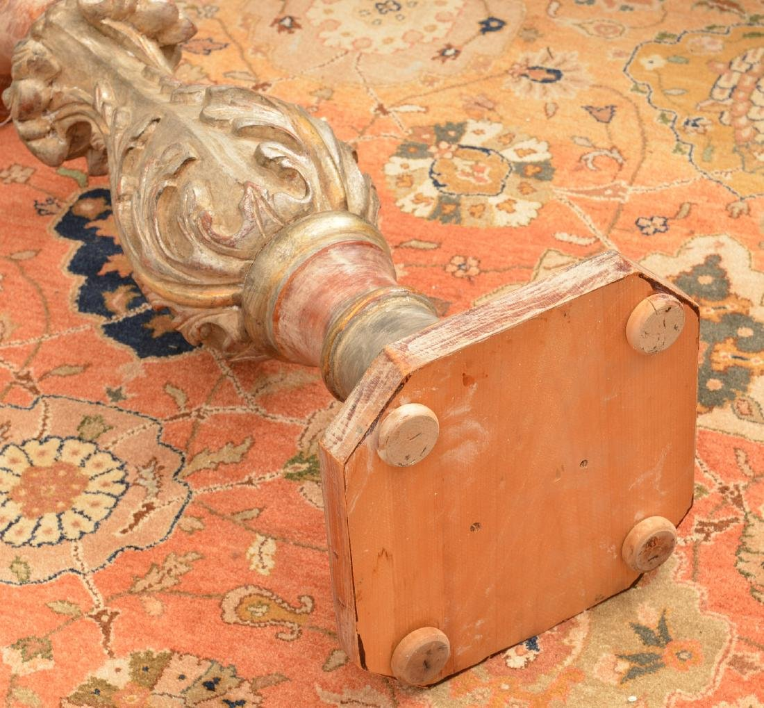 Italian carved and silvered wood pedestal - 3
