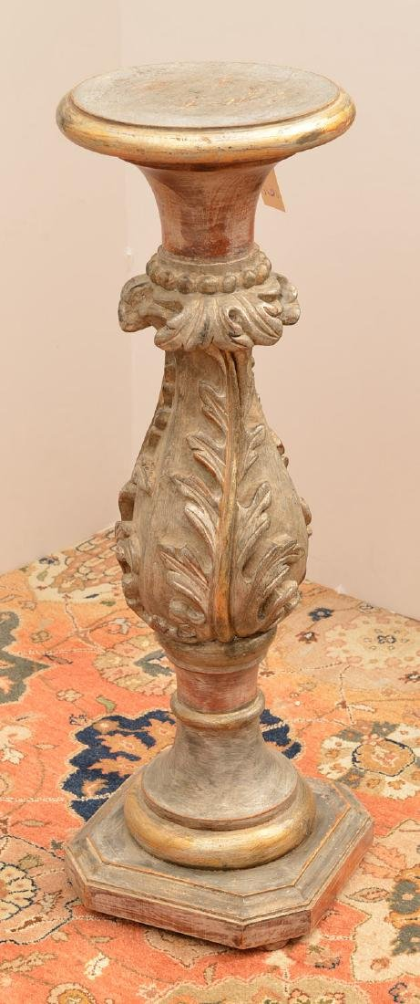 Italian carved and silvered wood pedestal - 4