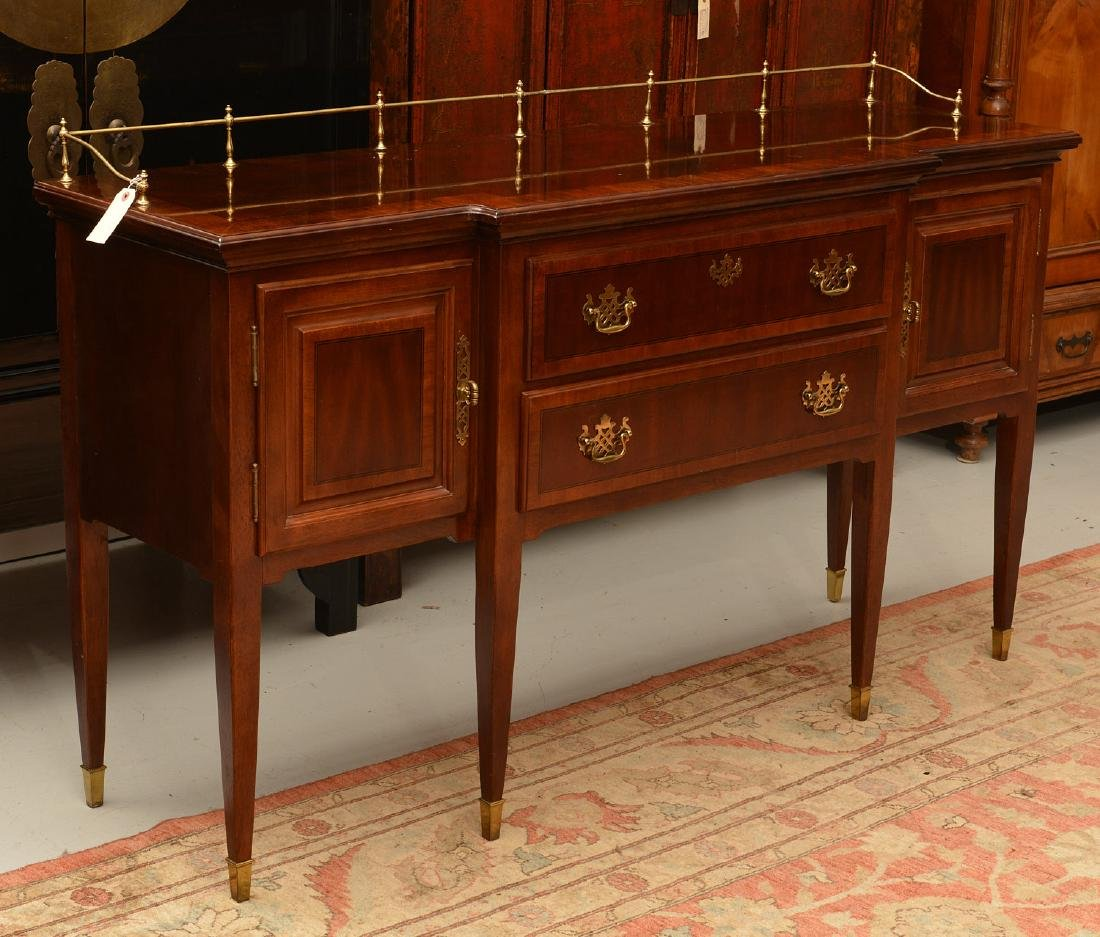 Georgian style sideboard with brass gallery - 2