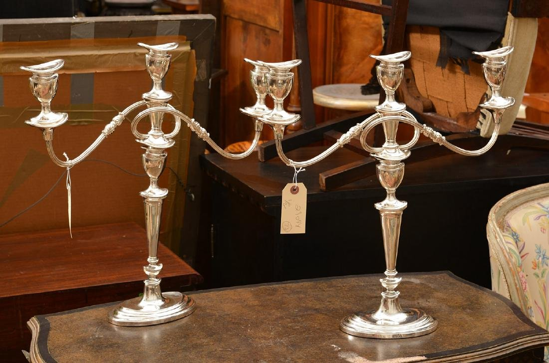 George III style silver plated 2-part candelabra