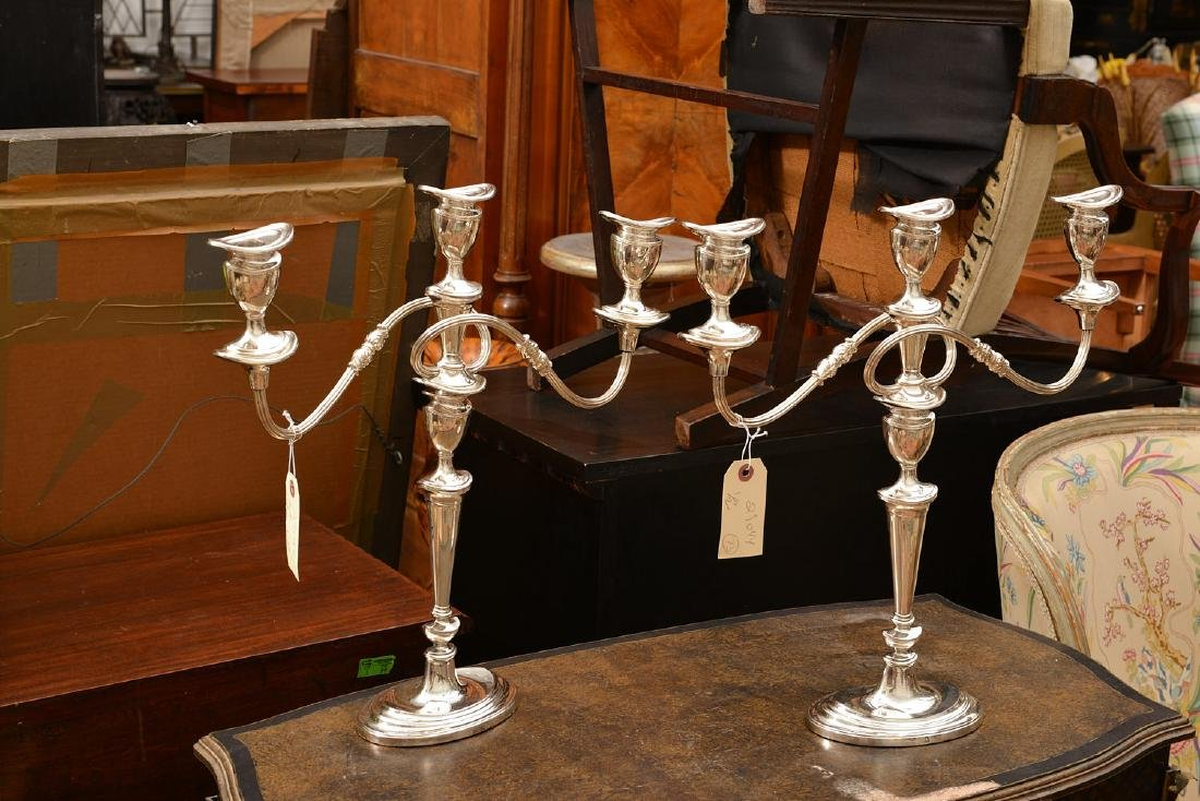 George III style silver plated 2-part candelabra - 2