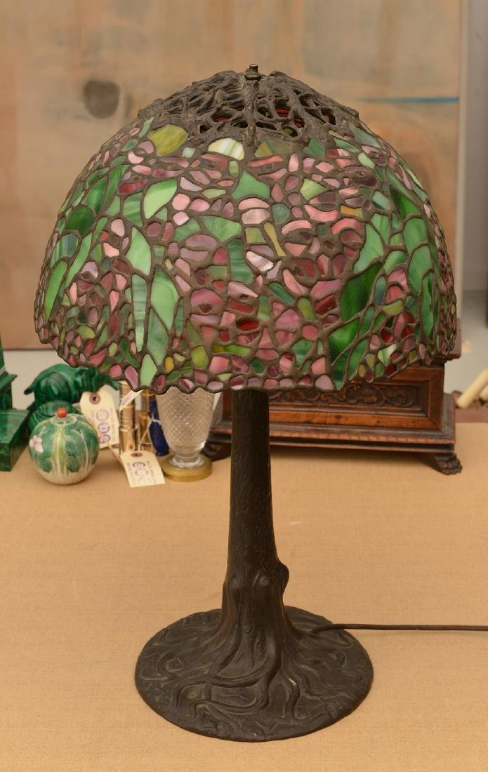 Tiffany Studios style leaded glass table lamp