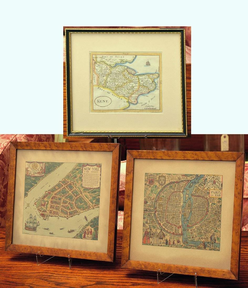 (3) antique and decorative Maps: Kent, Paris, NY