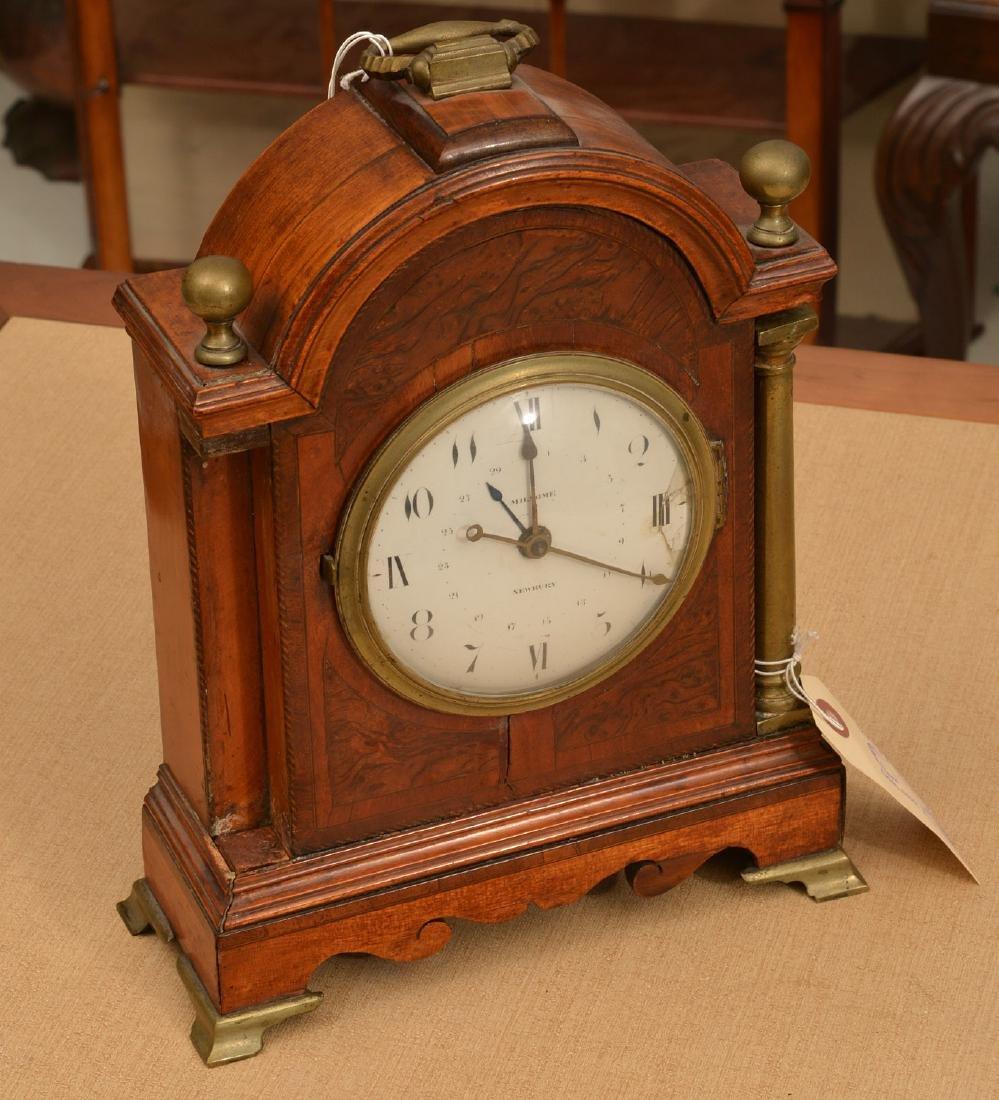 English mahogany and burl wood bracket clock