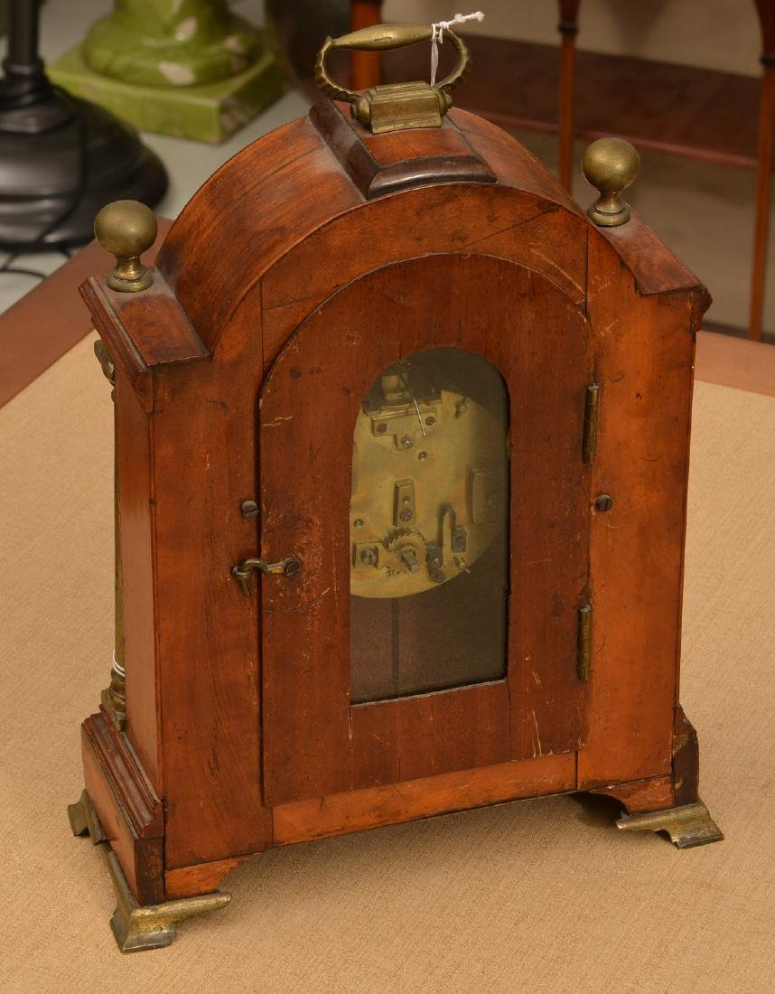 English mahogany and burl wood bracket clock - 3