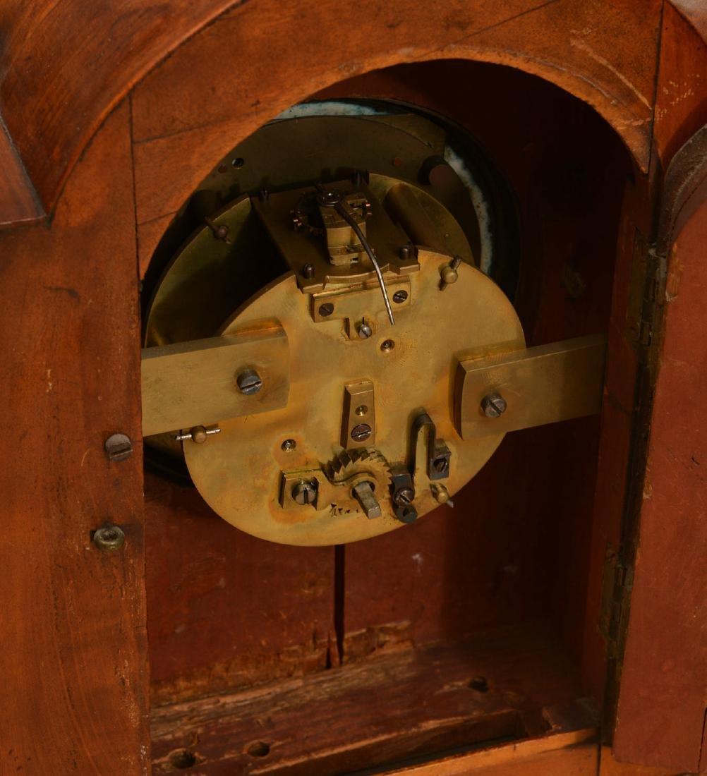 English mahogany and burl wood bracket clock - 4