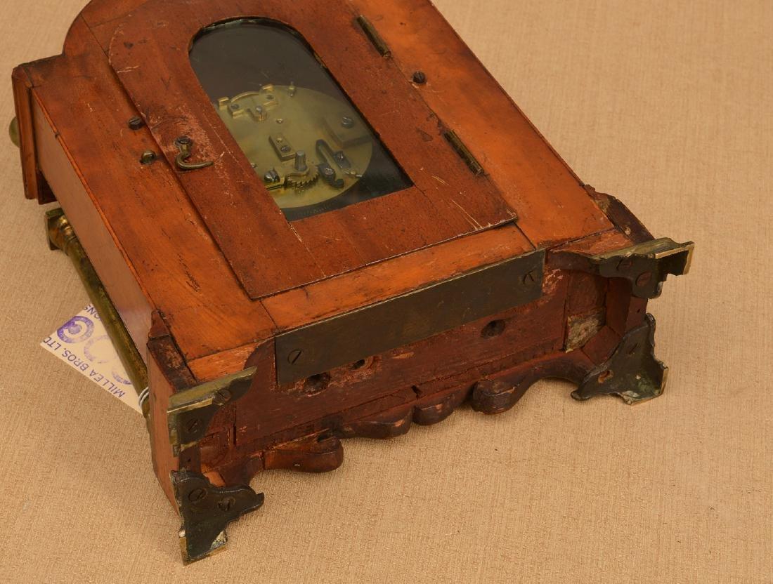 English mahogany and burl wood bracket clock - 5