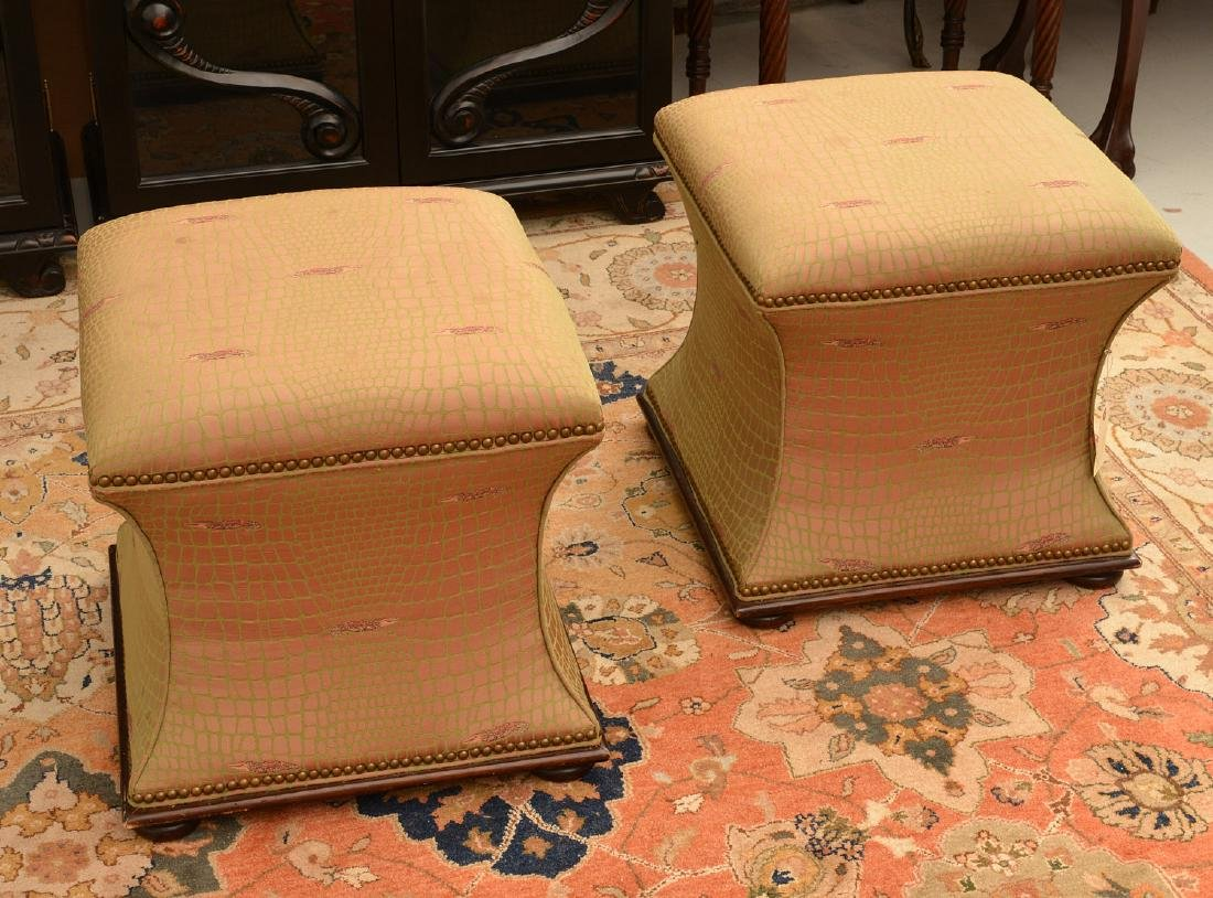 Pair Hickory Chair Co. upholstered stools