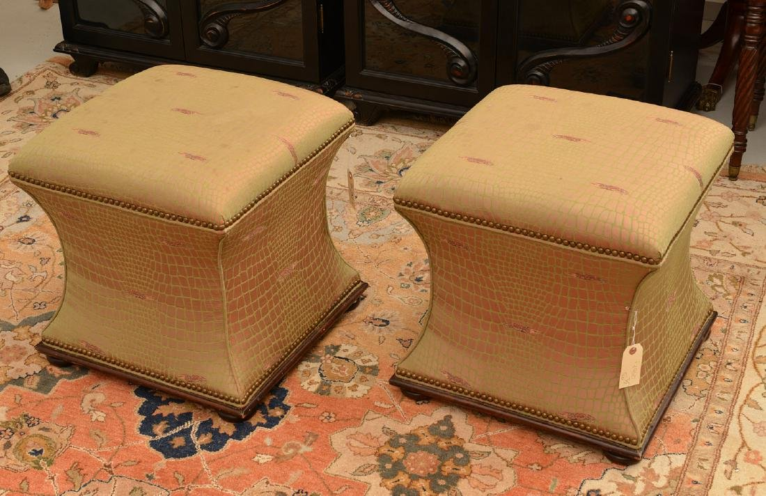 Pair Hickory Chair Co. upholstered stools - 2