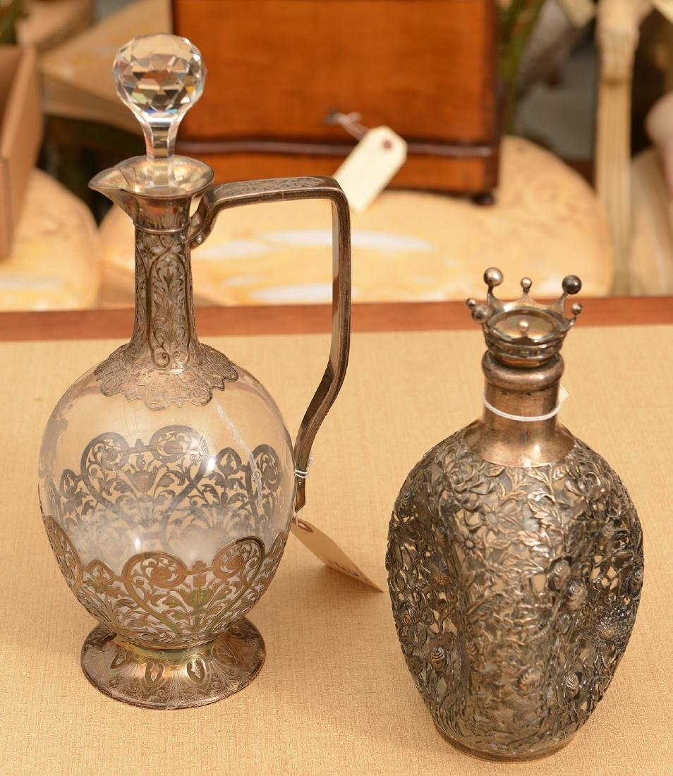 (2) Silver mounted glass decanter bottles