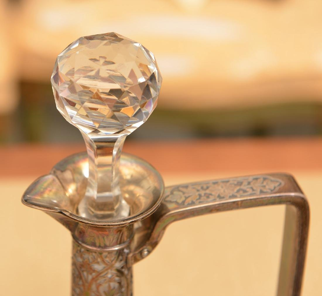 (2) Silver mounted glass decanter bottles - 2