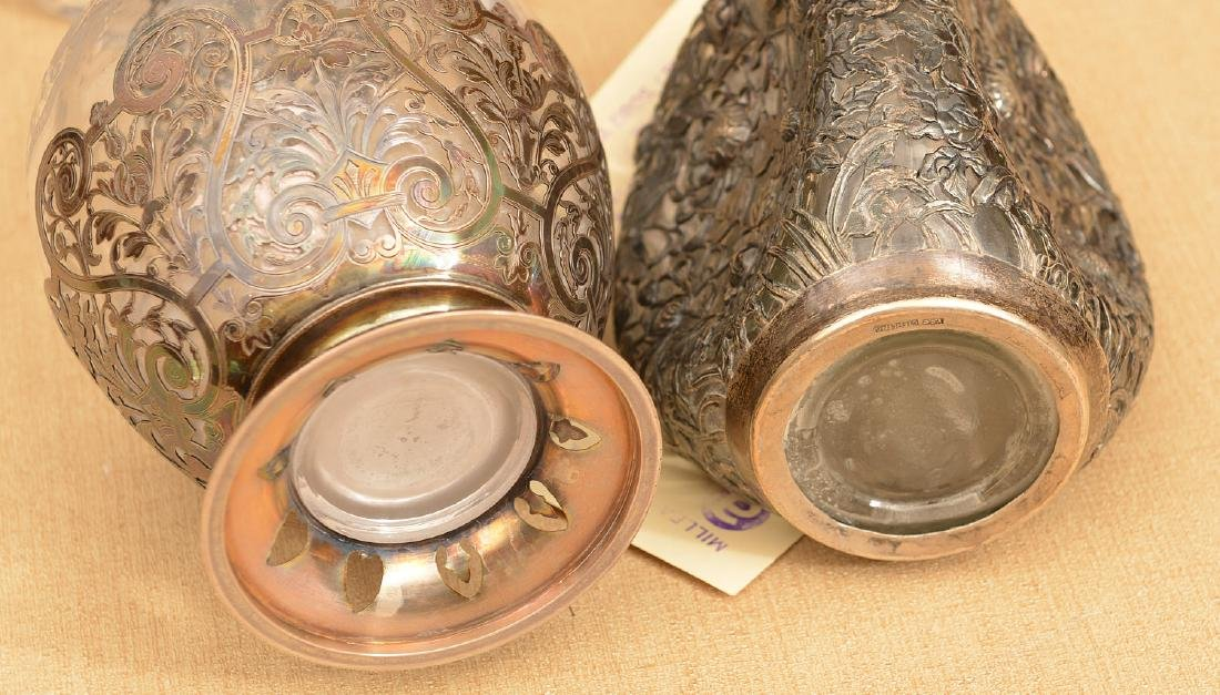 (2) Silver mounted glass decanter bottles - 5