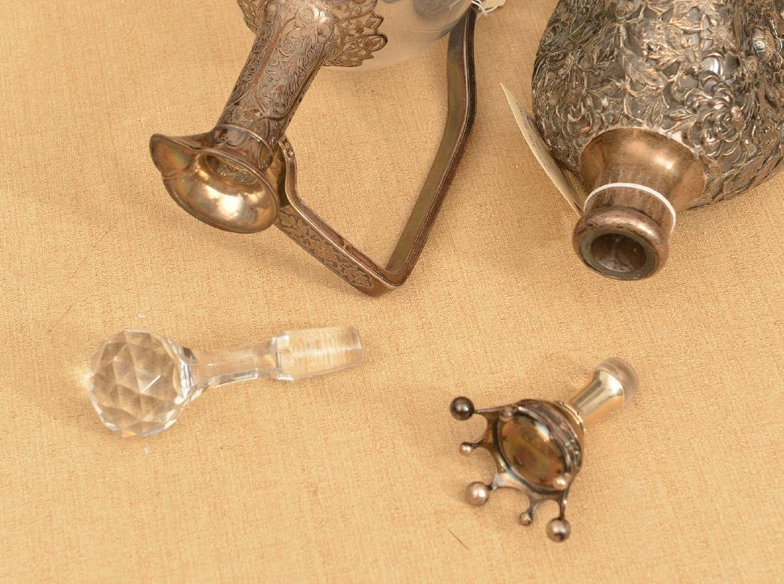 (2) Silver mounted glass decanter bottles - 6