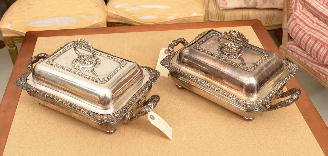 Pair Sheffield plate covered vegetable dishes
