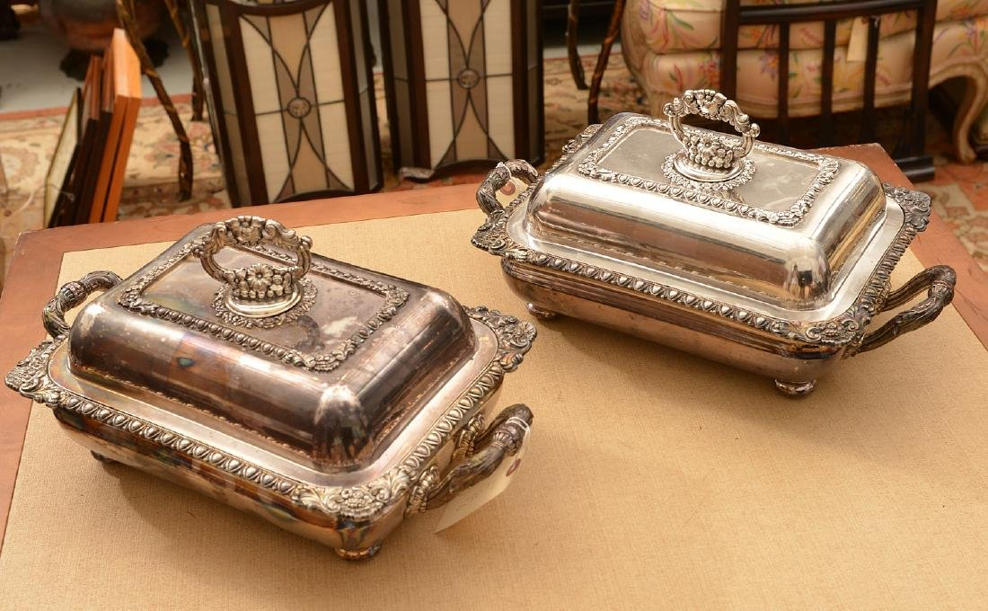 Pair Sheffield plate covered vegetable dishes - 2