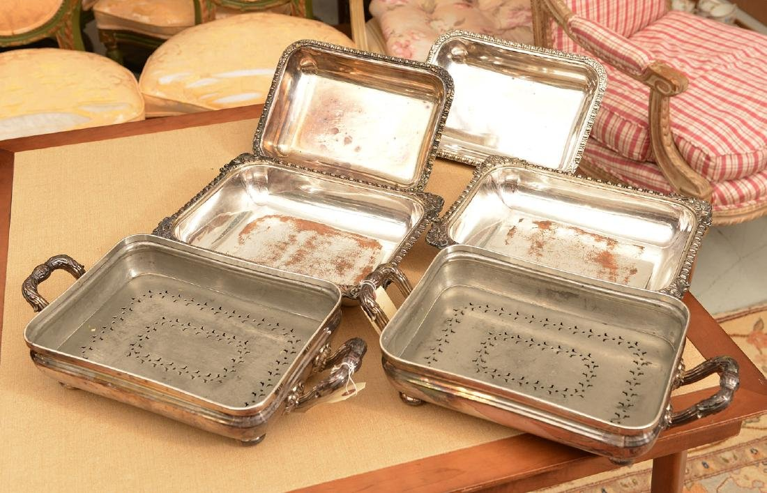 Pair Sheffield plate covered vegetable dishes - 7