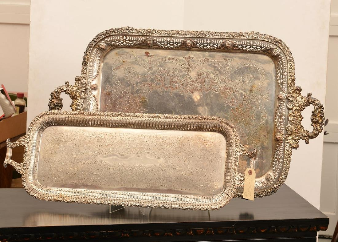 (2) English silver plated serving trays