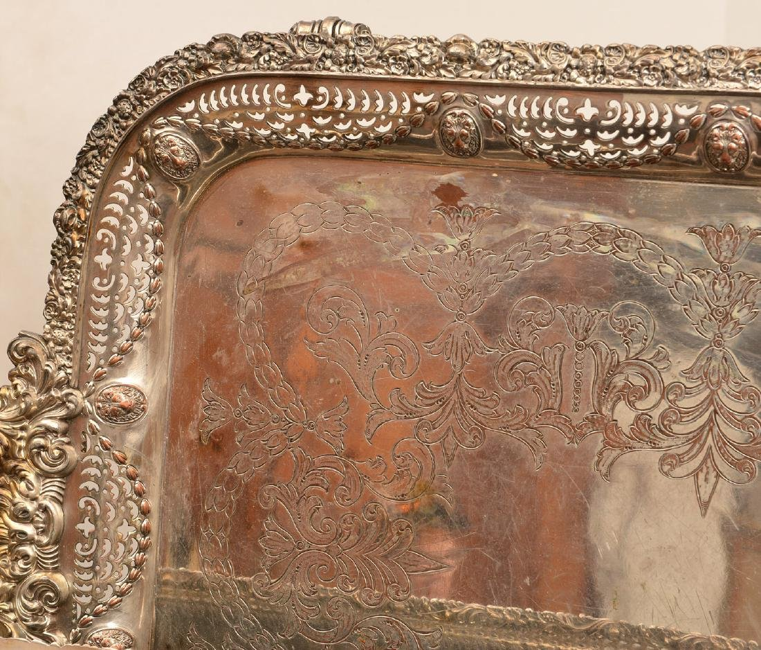 (2) English silver plated serving trays - 3