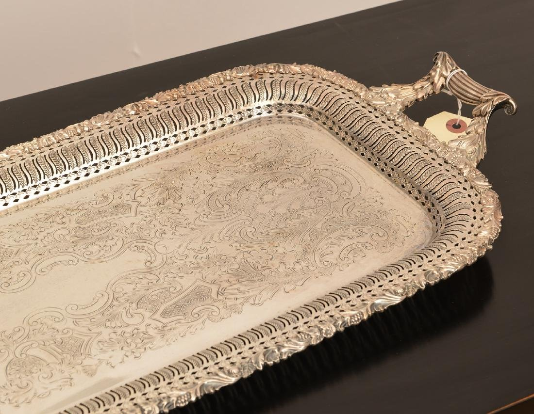 (2) English silver plated serving trays - 4