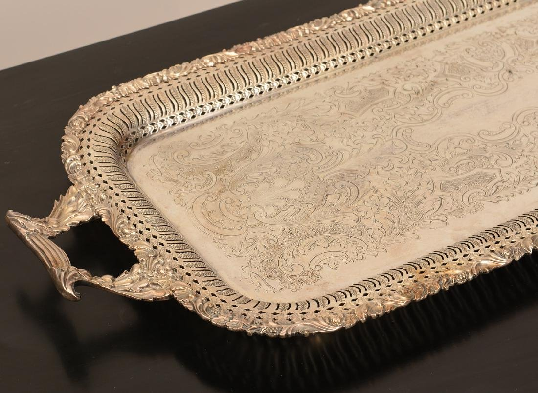 (2) English silver plated serving trays - 5