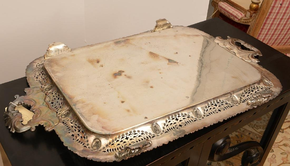 (2) English silver plated serving trays - 8