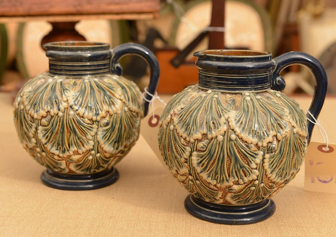 Pair Gerbing & Stephan majolica pitchers