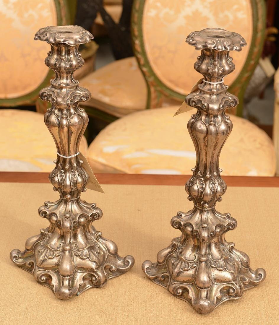 Pair Polish silver shabbat candlesticks