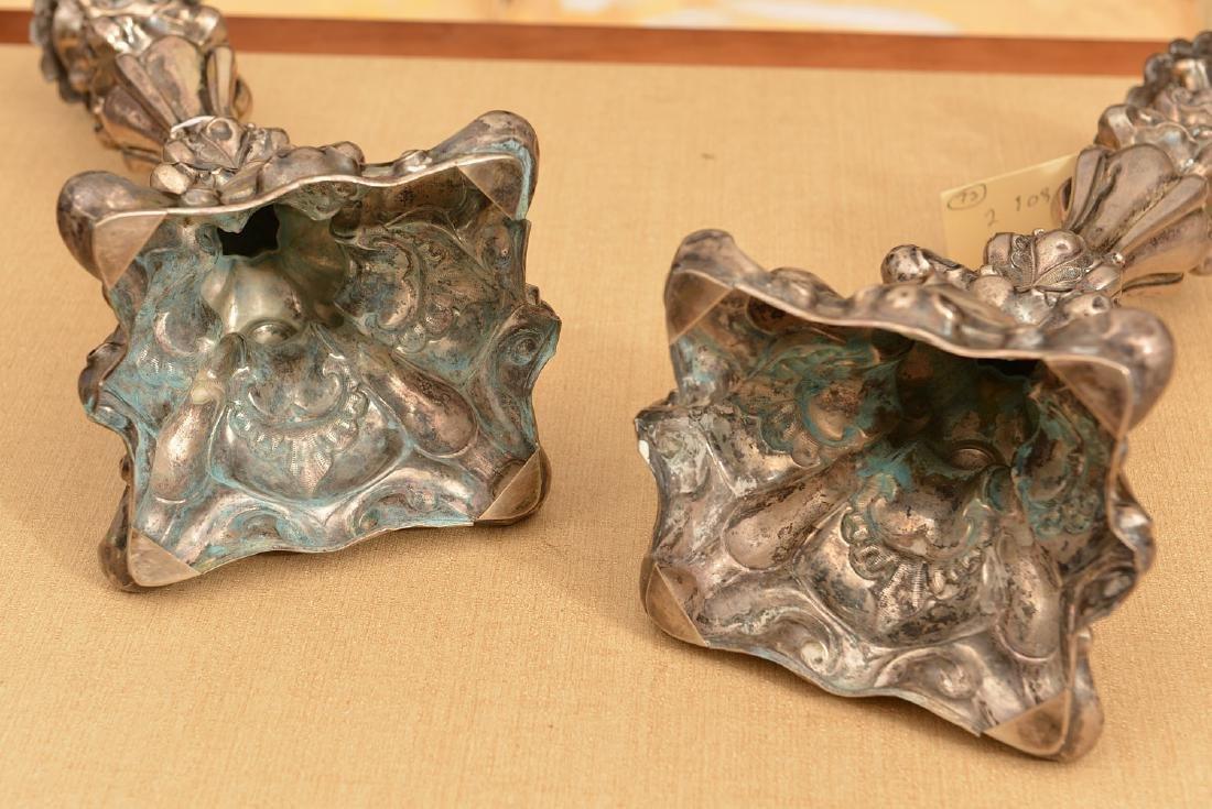 Pair Polish silver shabbat candlesticks - 4