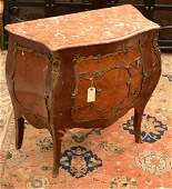 Louis XV style marble top bombe commode