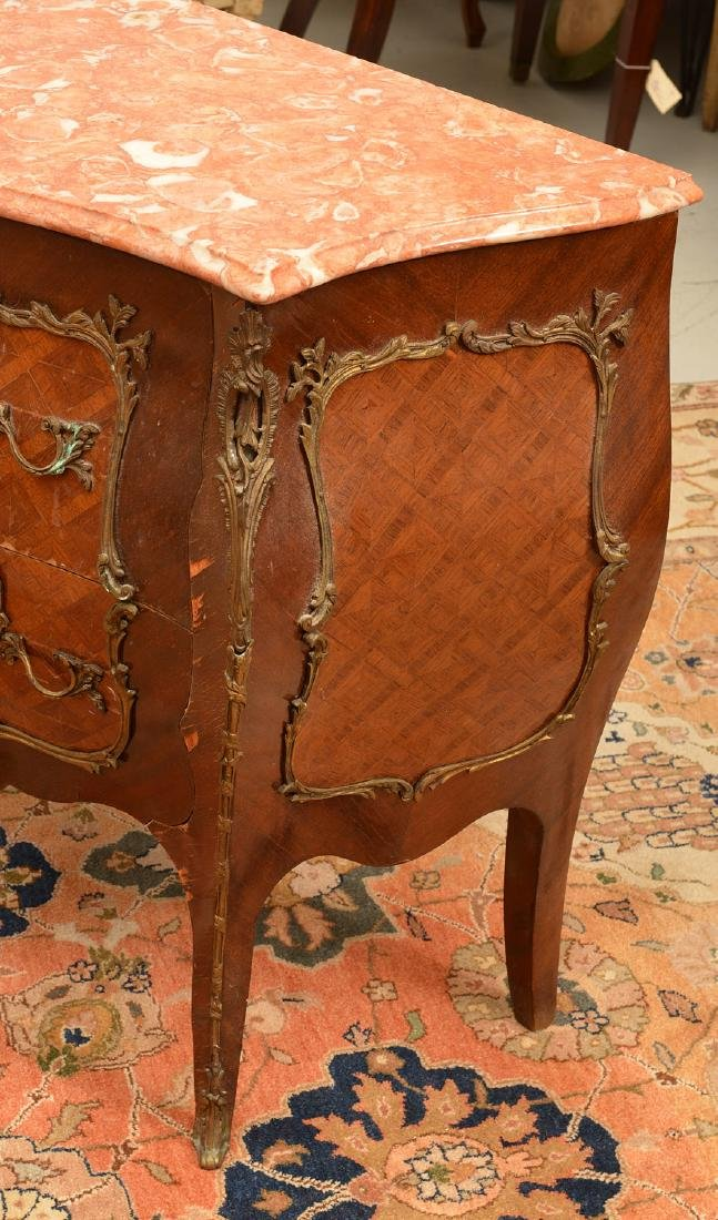 Louis XV style marble top bombe commode - 2