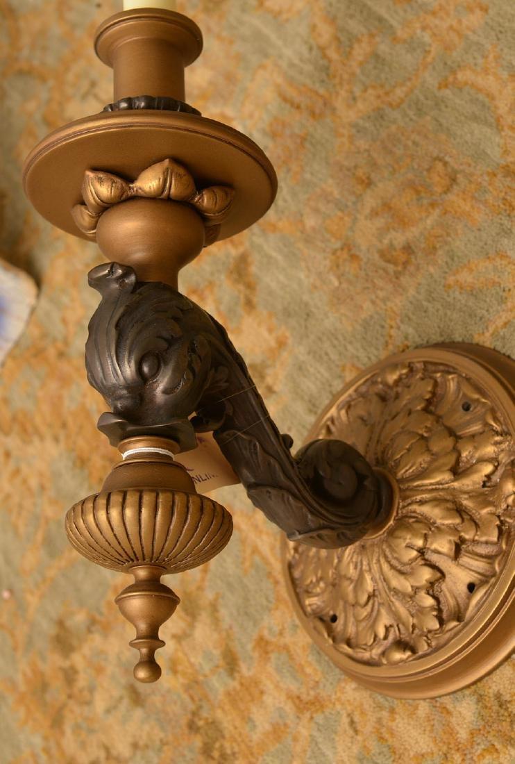 Pair bronze and ebony sconces - 3