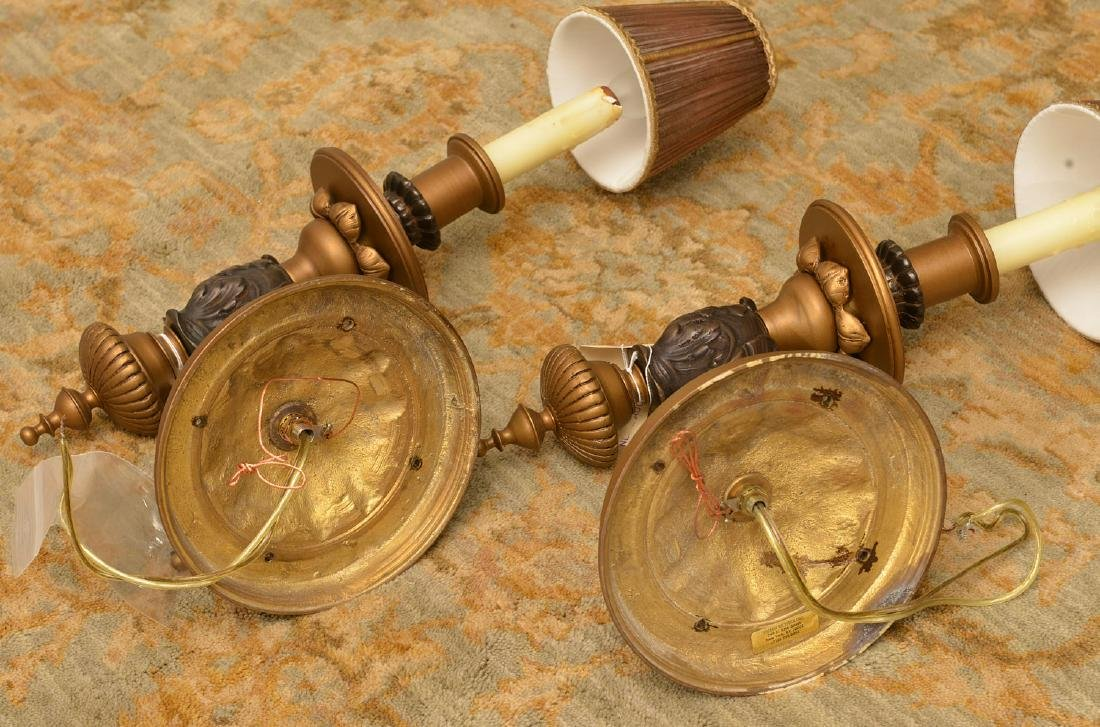 Pair bronze and ebony sconces - 4