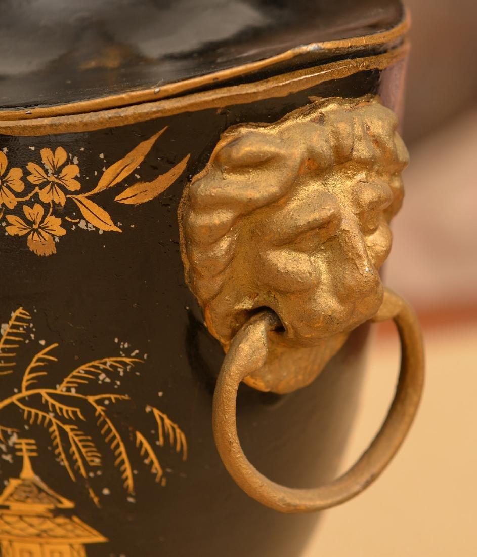 Pair Regency style black tole chestnut urns - 3