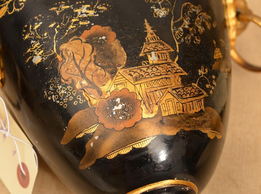 Pair Regency style black tole chestnut urns - 4
