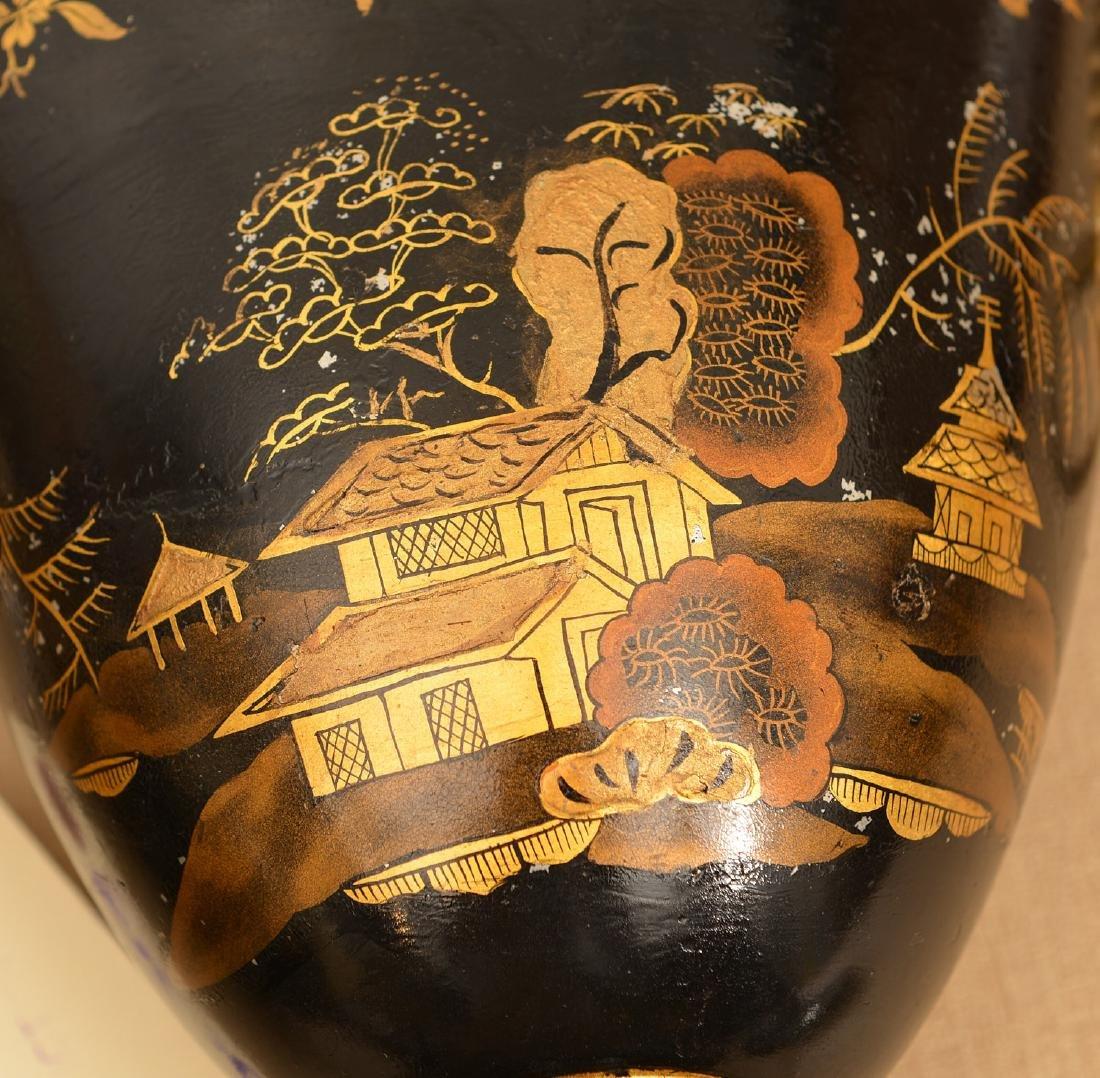 Pair Regency style black tole chestnut urns - 5