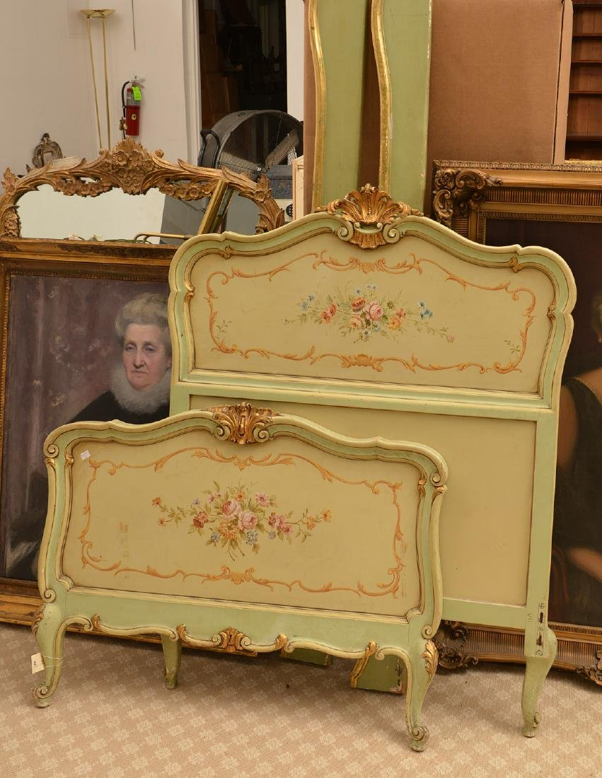 Louis XV style paint decorated twin bedstead