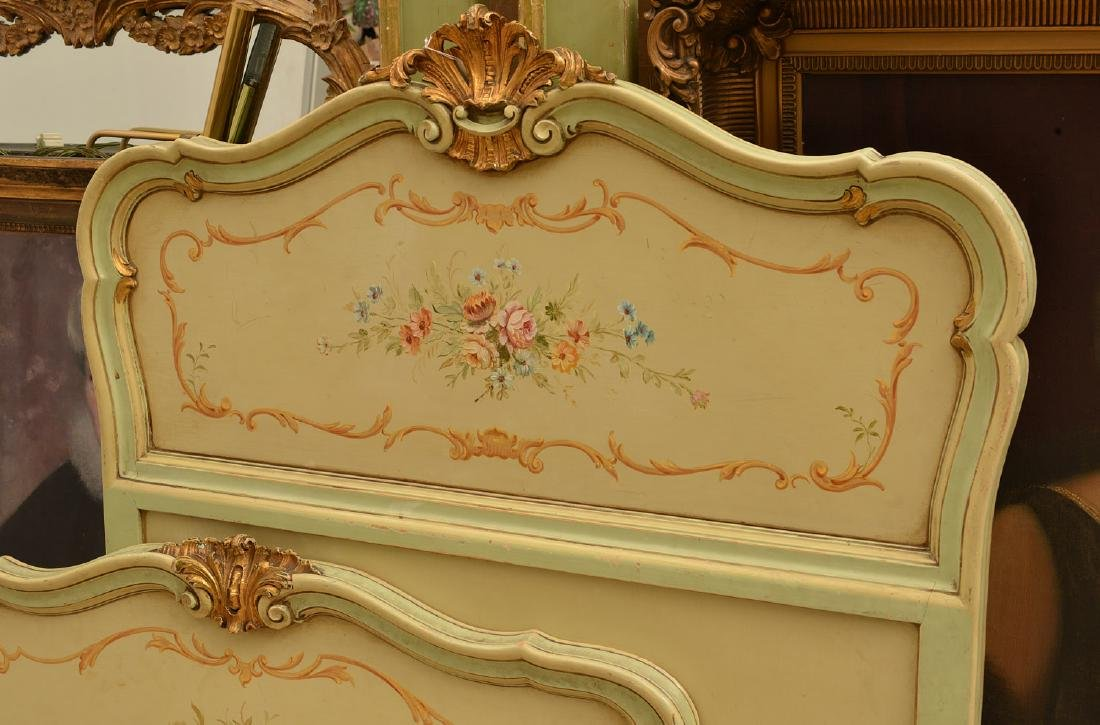 Louis XV style paint decorated twin bedstead - 2