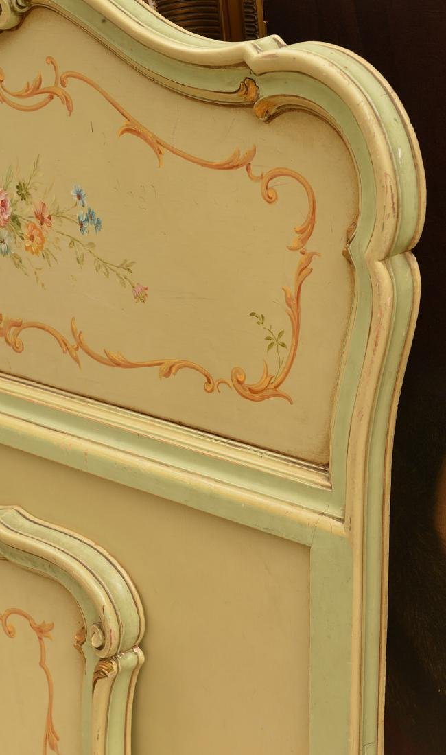 Louis XV style paint decorated twin bedstead - 3