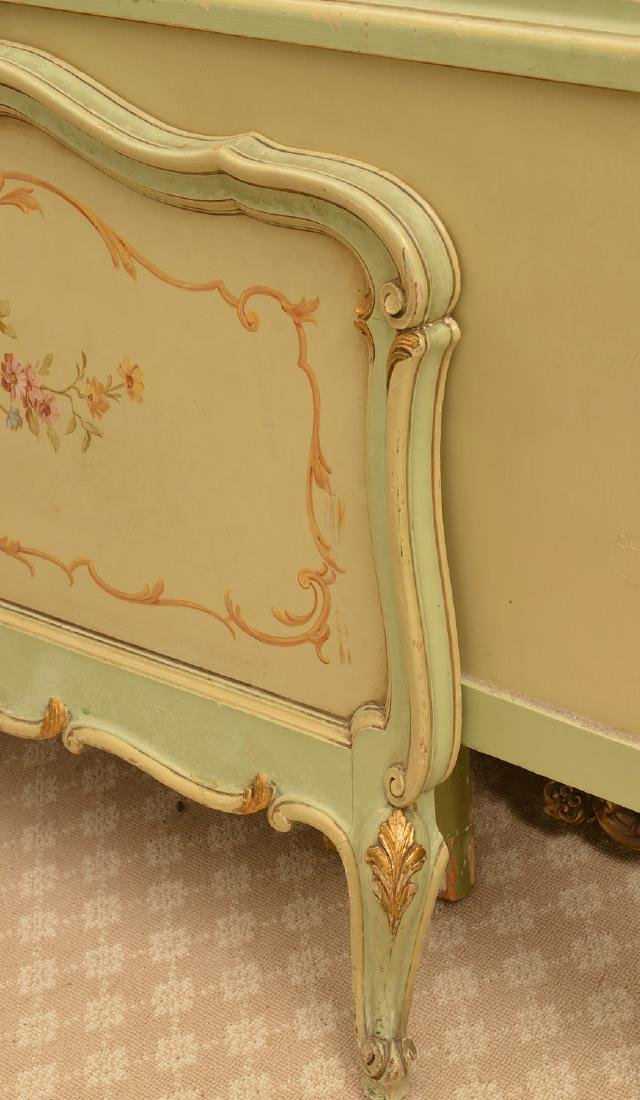Louis XV style paint decorated twin bedstead - 4