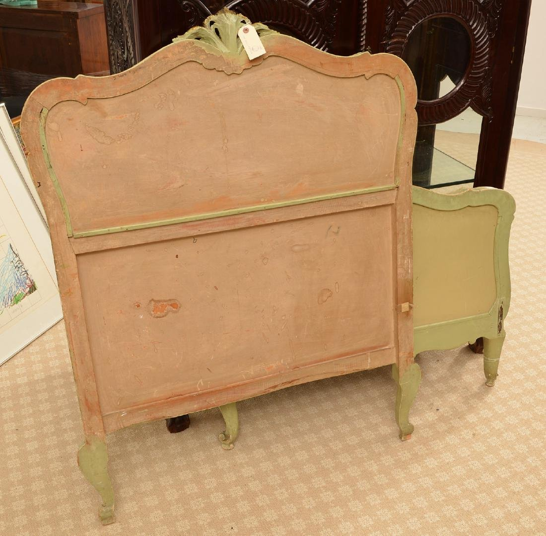 Louis XV style paint decorated twin bedstead - 5