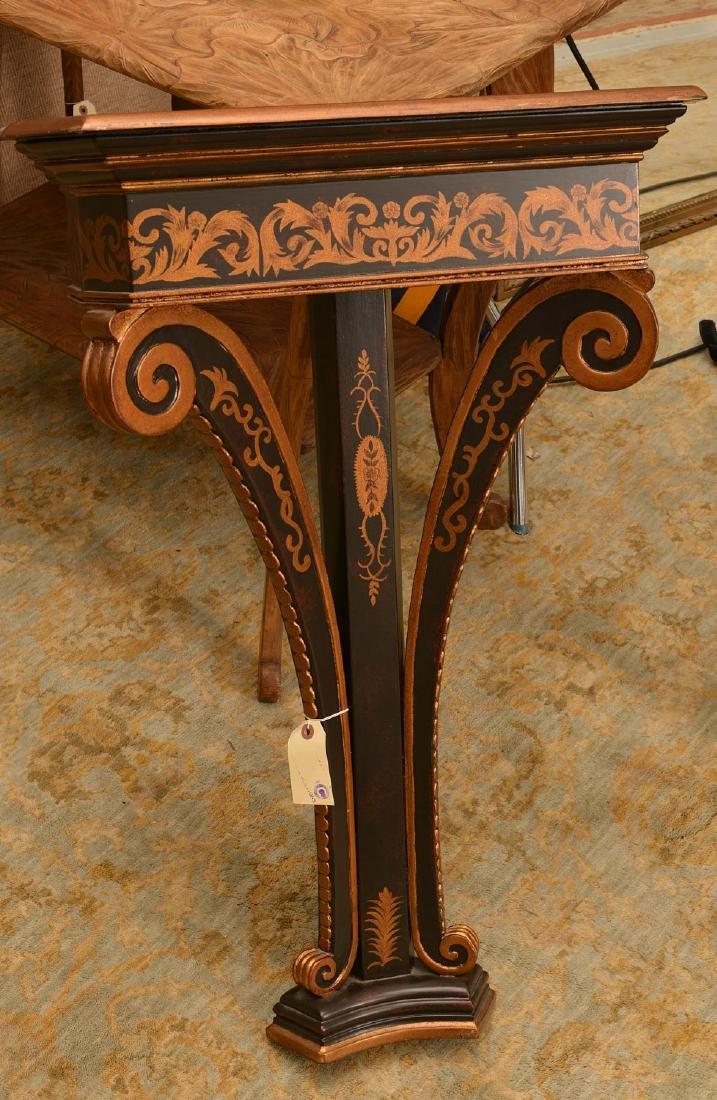 Regency style black painted, gilt bracket console