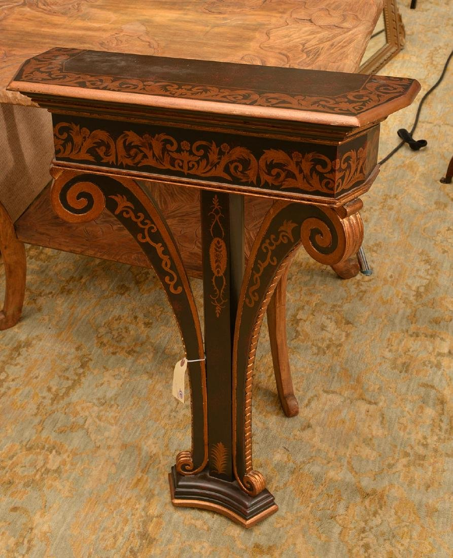 Regency style black painted, gilt bracket console - 2