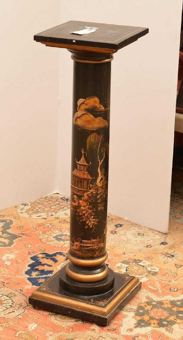 Italian chinoiserie decorated column pedestal