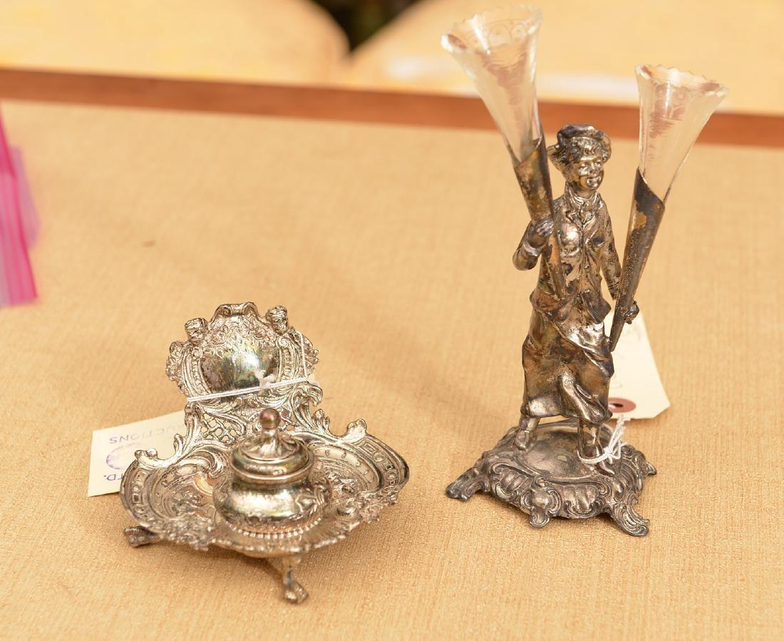 (2) small silver plated desk accessories